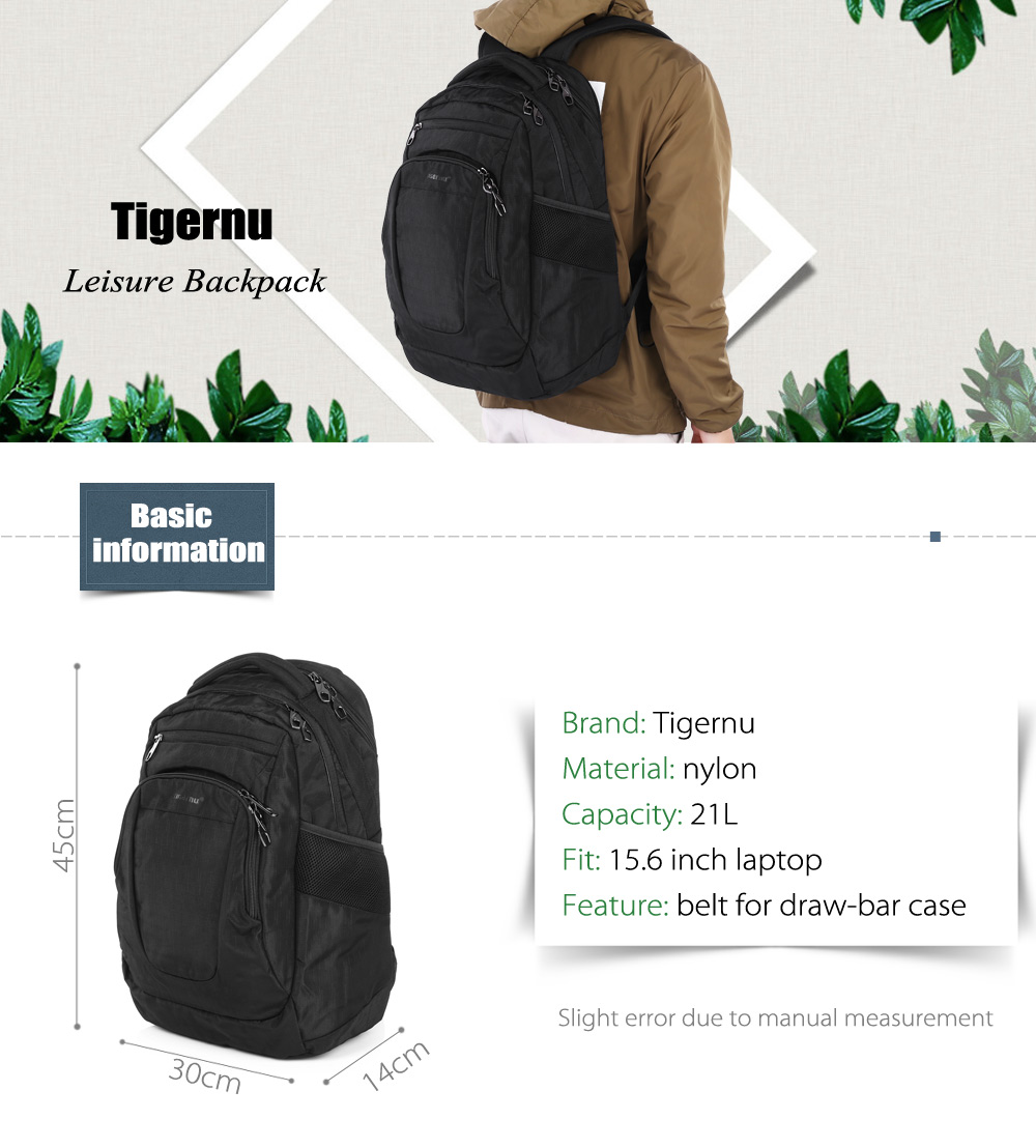 Tigernu T - B3182 Water-resistant Nylon 21L Leisure Backpack Bag for 15.6 inch Laptop