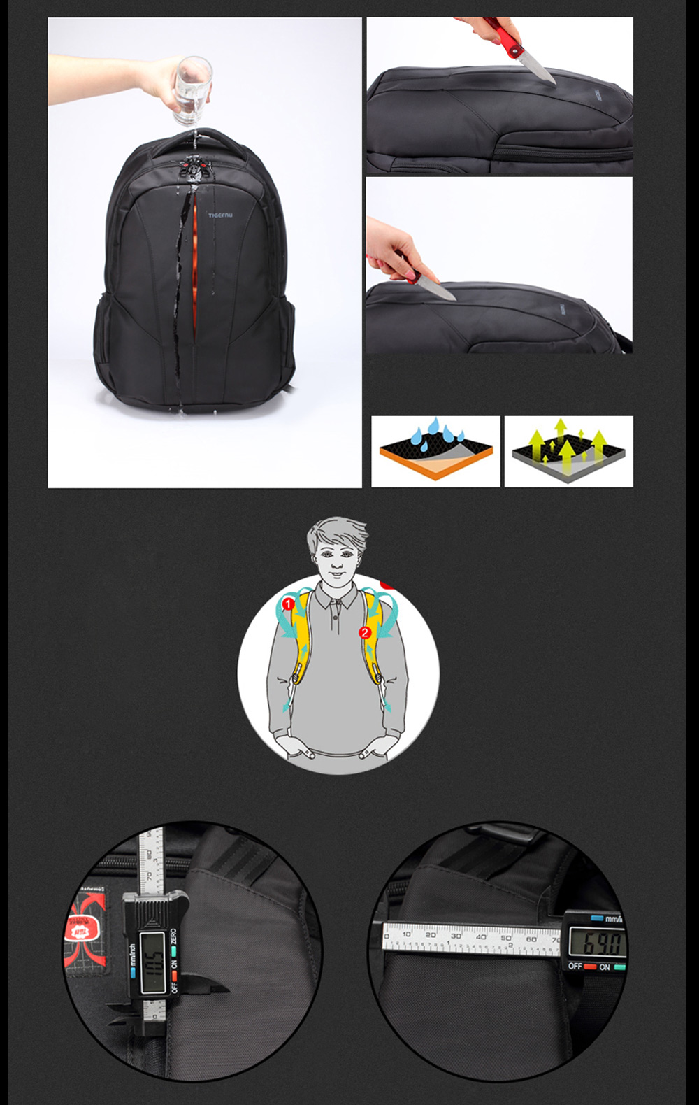 Tigernu T - B3105B Water-resistant Nylon 30L Business Backpack Bag for 15 inch Laptop