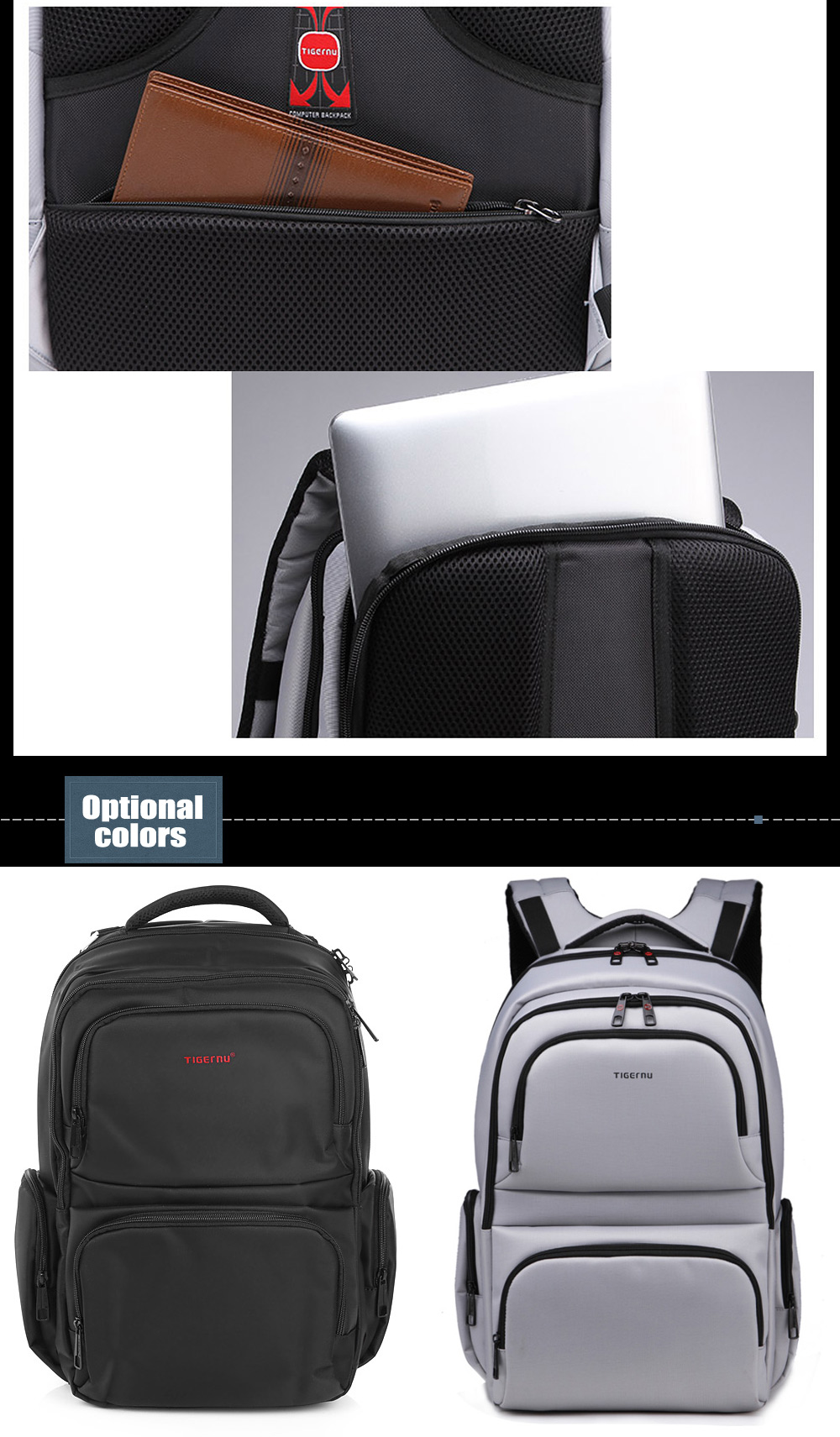 Tigernu T - B3140 Water-resistant Nylon 20L Business Backpack Bag for 14 inch Laptop