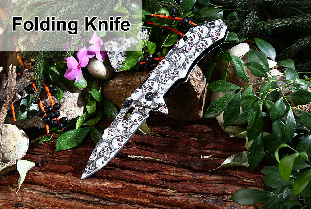 Patterned Liner Lock Folding Knife with 440 Stainless Steel Blade / Aluminum Alloy Handle