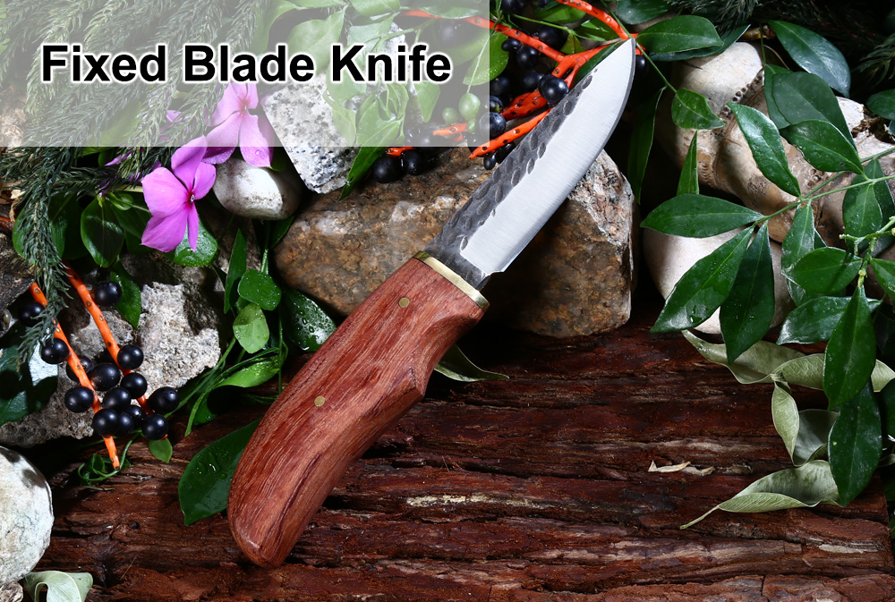 High-carbon Steel Fixed Blade Knife with Wooden Handle / Sheath