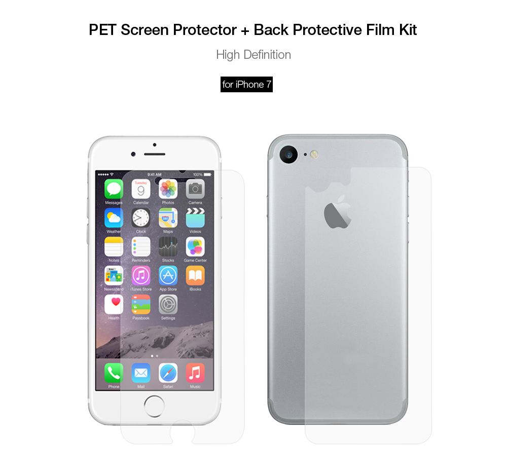 ENKAY PET HD Screen Protector + Back Protective Film for iPhone 7 High Transparency