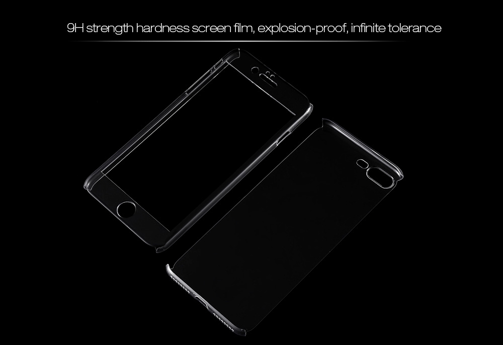 Transparent Full Body PC Case Protector Tempered Glass Screen Film Kit for iPhone 7 Plus