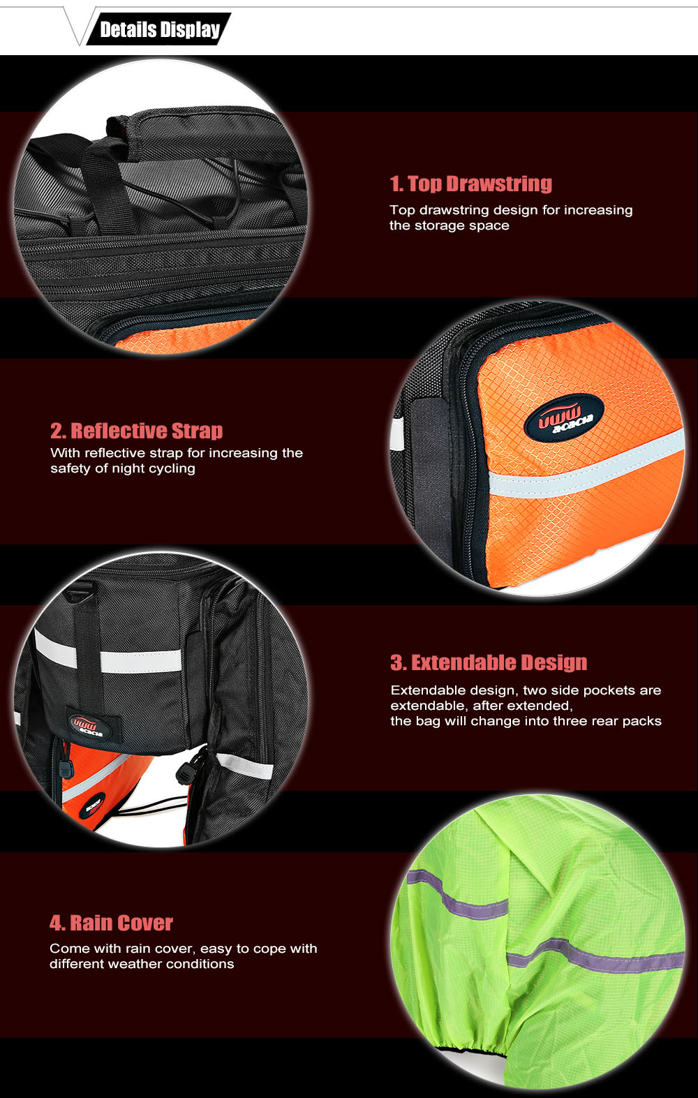 Acacia bao0414 6L Multifunctional Extendable Bike Rear Pannier Bag Cycling Pack