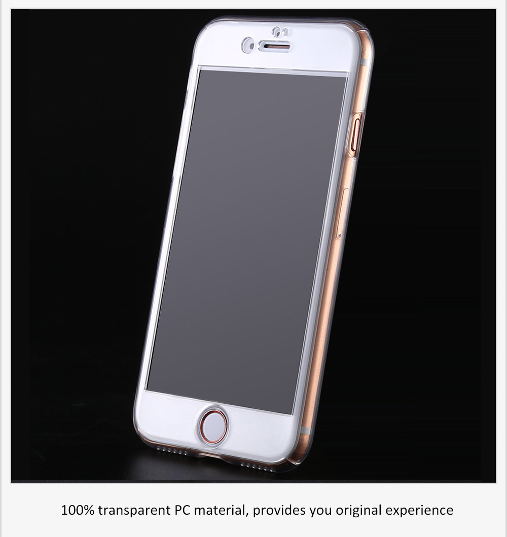 Transparent Full Body PC Case Protector Tempered Glass Screen Film Kit for iPhone 7