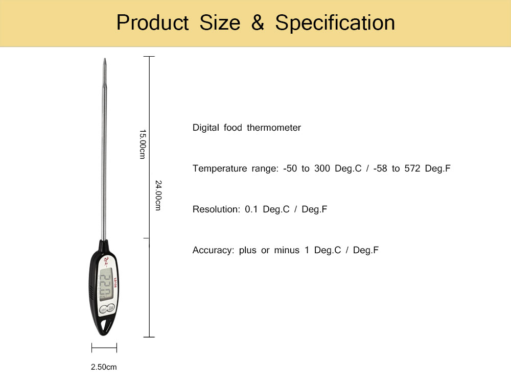 LD108 Multi-functional Digital Food Thermometer LCD Screen for Milk Coffee Barbecue