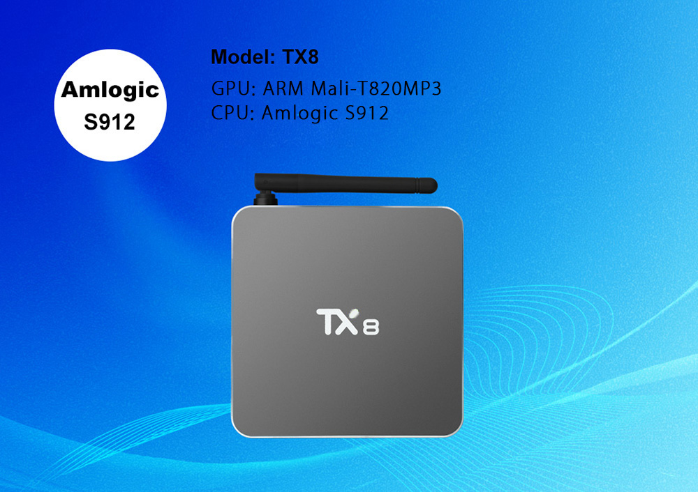 TX8 Android 6.0 TV Box with Amlogic S912 Octa Core Dual Band WiFi 2.4GHz + 5GHz Bluetooth 4.0 Mini PC