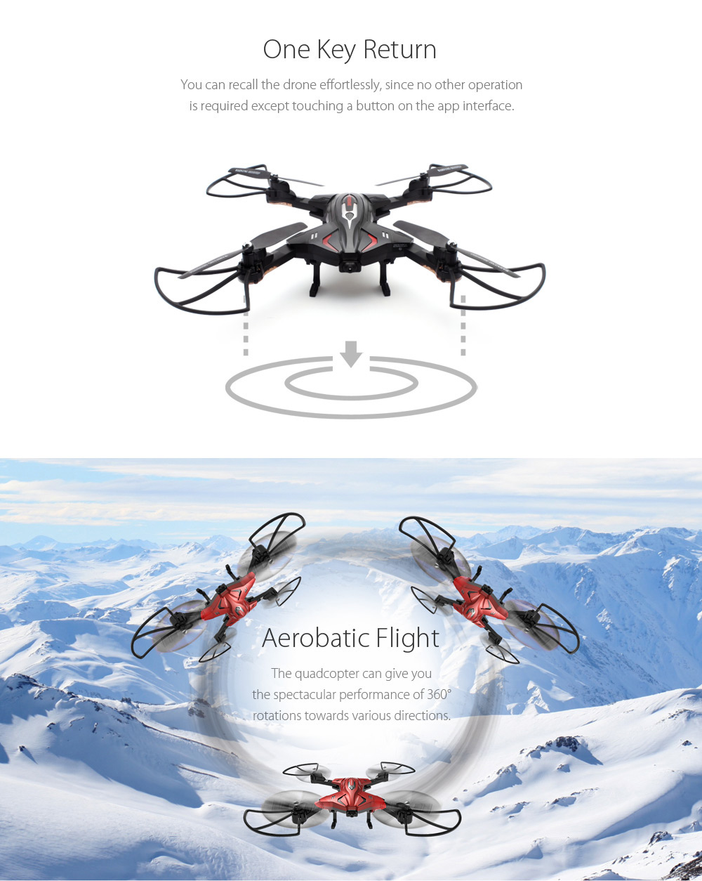 Skytech TK110HW Foldable RC Drone RTF WiFi FPV / 0.3MP Camera / Air Press Altitude Hold / G-sensor / Headless Mode / Waypoints / Hand Launching