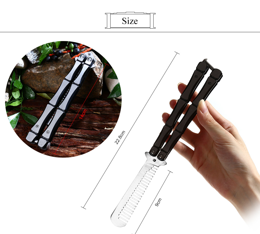 Unedged Dull Blade Knife Folding Training Butterfly Comb for Safe Exercise