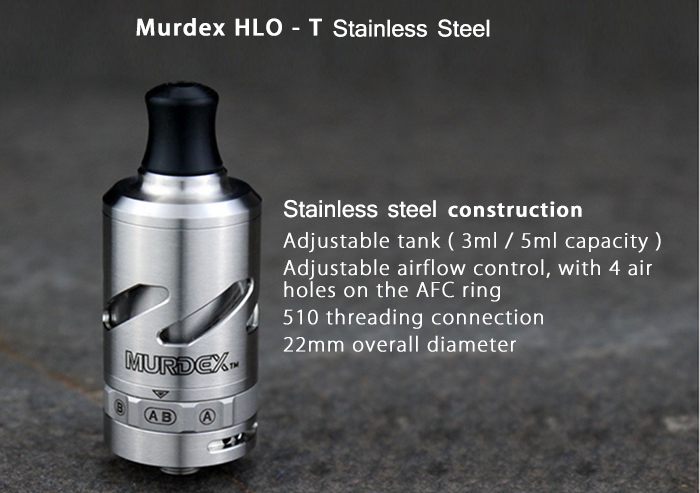Original Murdex HLO - T Stainless Steel RTA with 3ml / 5ml Replaceable Capacity / Single / Dual Coil Changeable for E Cigarette