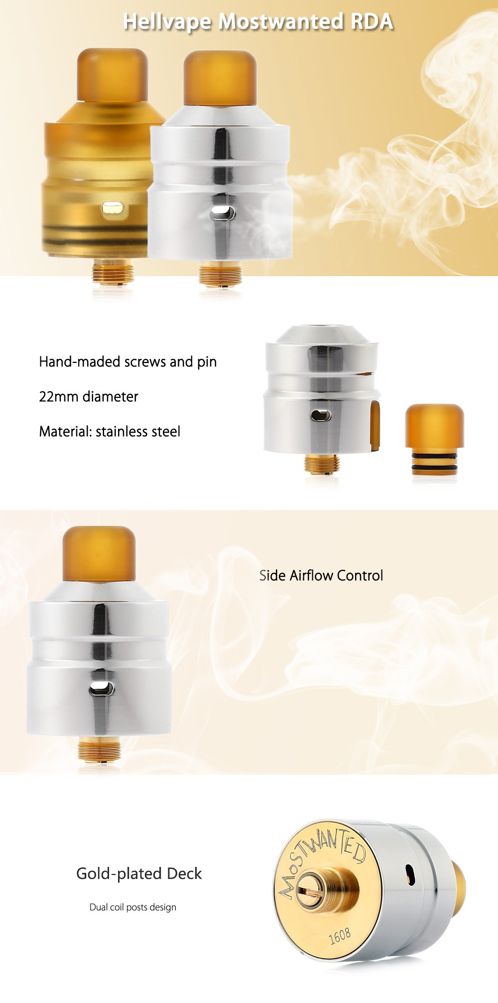 Original Hellvape Mostwanted RDA with Gold-plated Deck / Dual Coil Posts Design / 22mm Diameter for E Cigarette