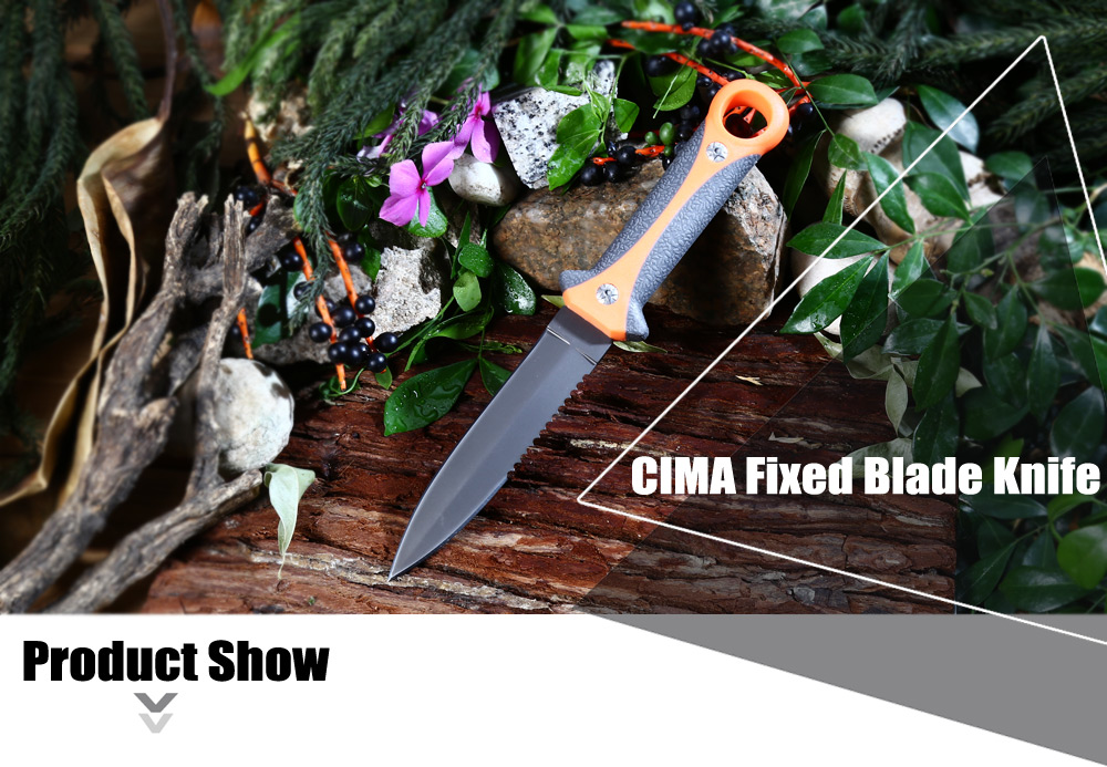 CIMA A - 16 3Cr13Mov Stainless Steel Fixed Blade Knife with Sheath