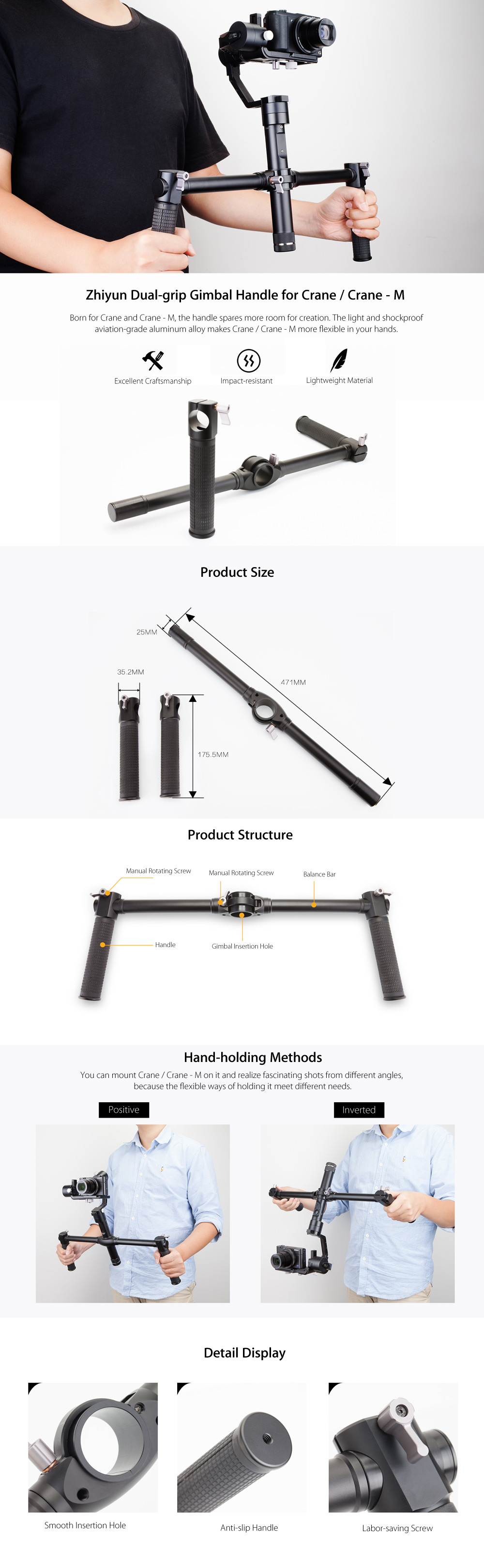 Original Zhiyun Dual-grip Handle for Crane / Crane - M 3-axis Stabilization Gimbal