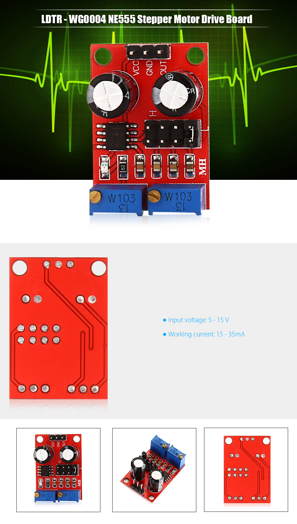 LDTR - WG0004 NE555 Stepper Motor Drive Board Pulse Frequency Duty Cycle Adjustable Module