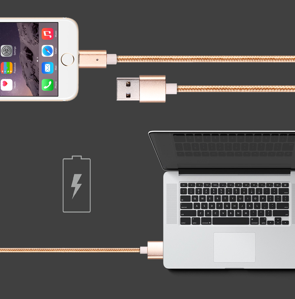 1m Magnetic Connector 8 Pin USB Data Transfer Charging Cable Nylon Pull Resistance Cord