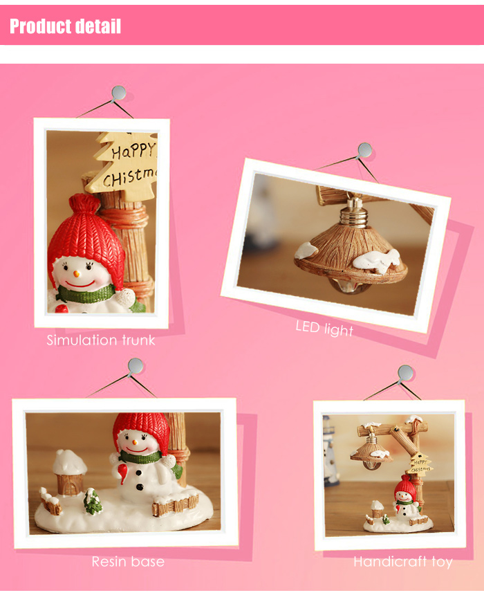 Micro Snowman Landscape Toy with Night Light Home Office Decoration Accessory Christmas Present