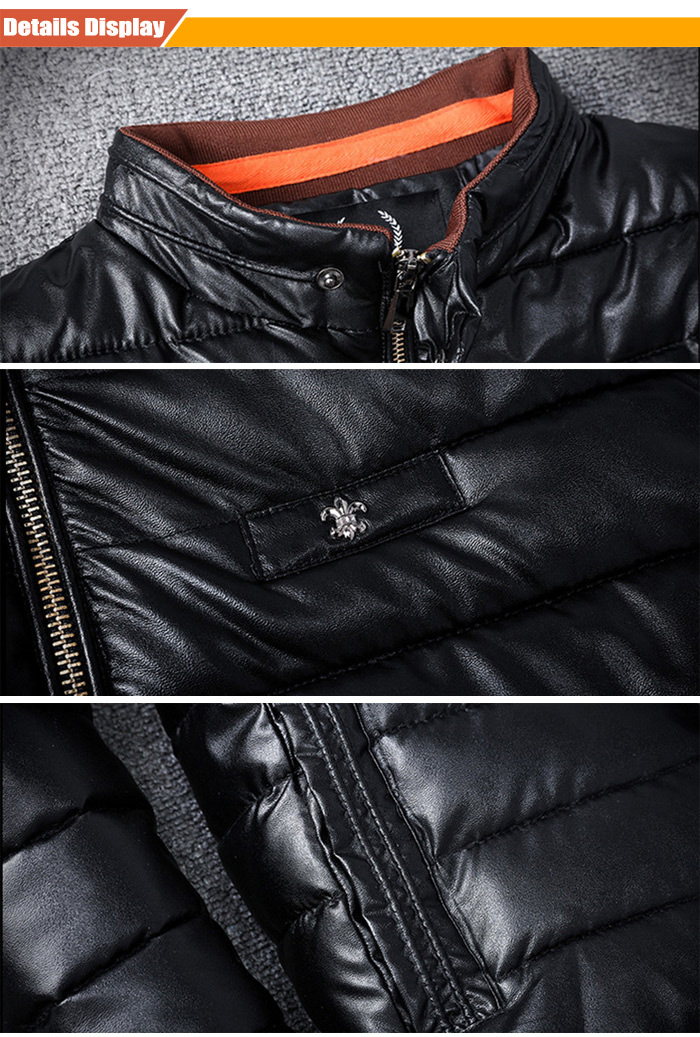 Men Stand-up Collar Zipper Front PU Quilted Jacket Winter Coat