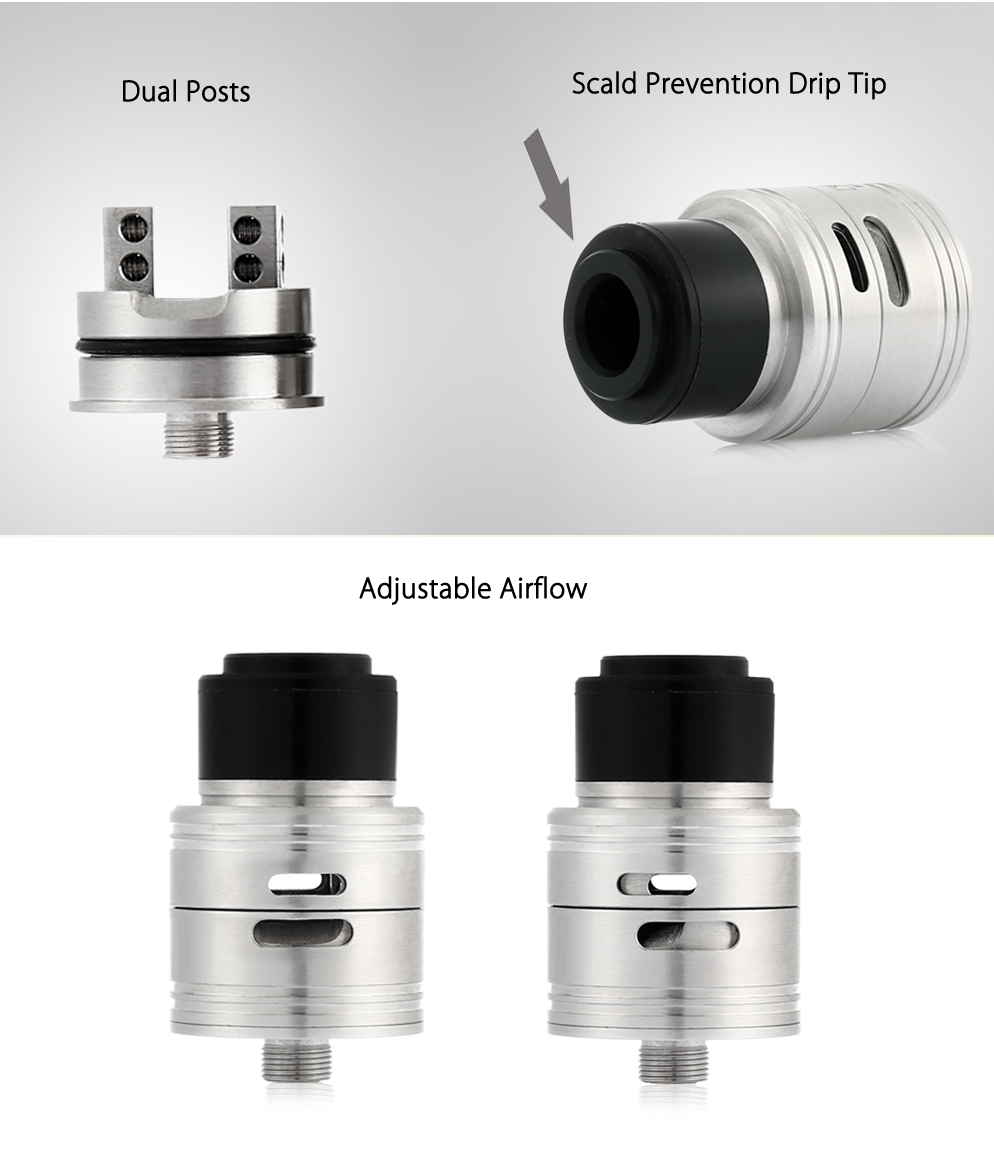 Pa V2 RDA with Adjustable Airflow / Top Filling / Dual Post for E Cigarette