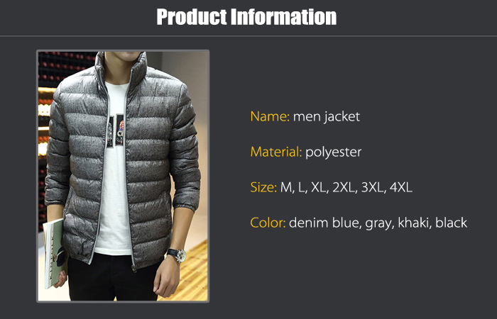 Men Zipper Front Stand-up Color Quilted Jacket Winter Coat