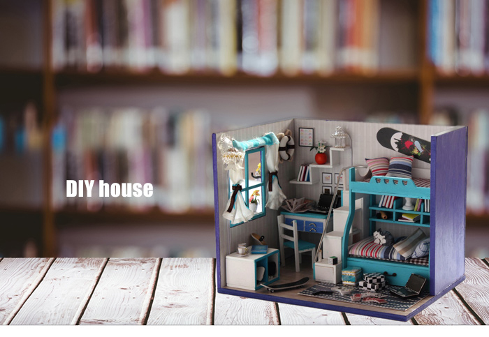 Wooden House Miniature Kit with Furniture LED Light DIY Handcraft Toy