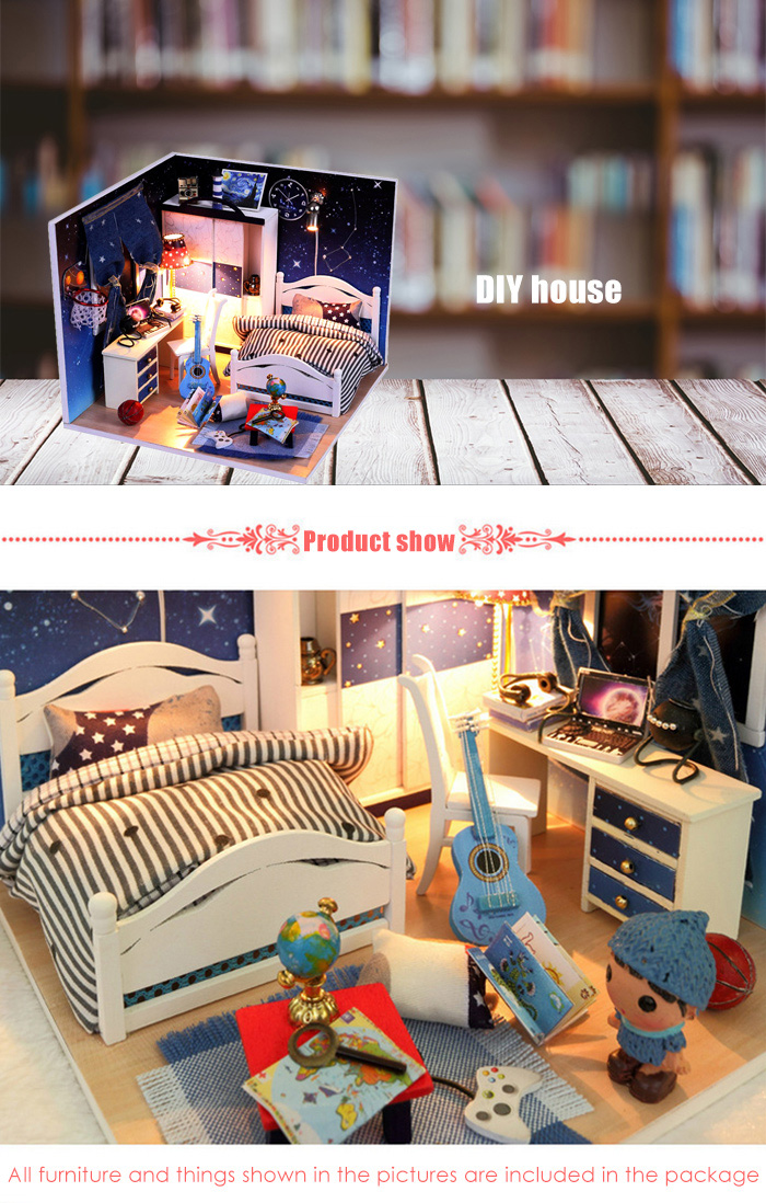 Miniature Wooden House Theme Kit with LED Light DIY Handcraft Toy