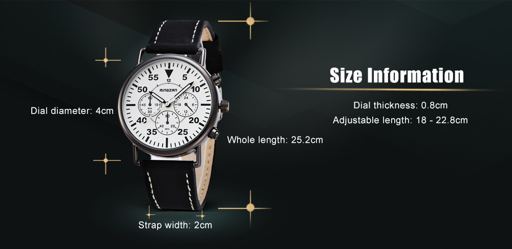 mingzan 6305 Casual Unisex Quartz Watch with Decorative Sub-dial