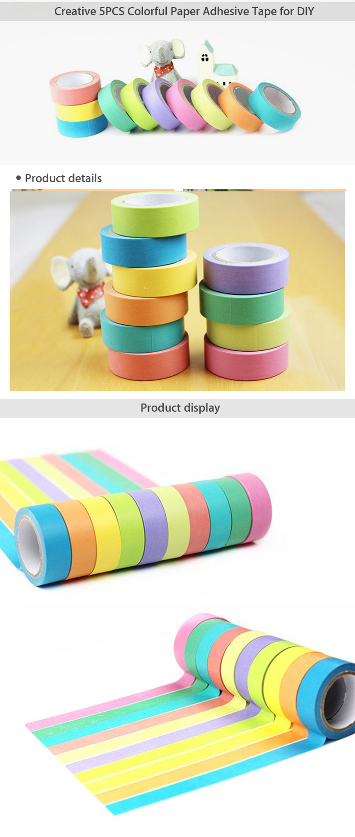 10m Creative 5PCS Colorful Paper Adhesive Tape Office / Student Supplies