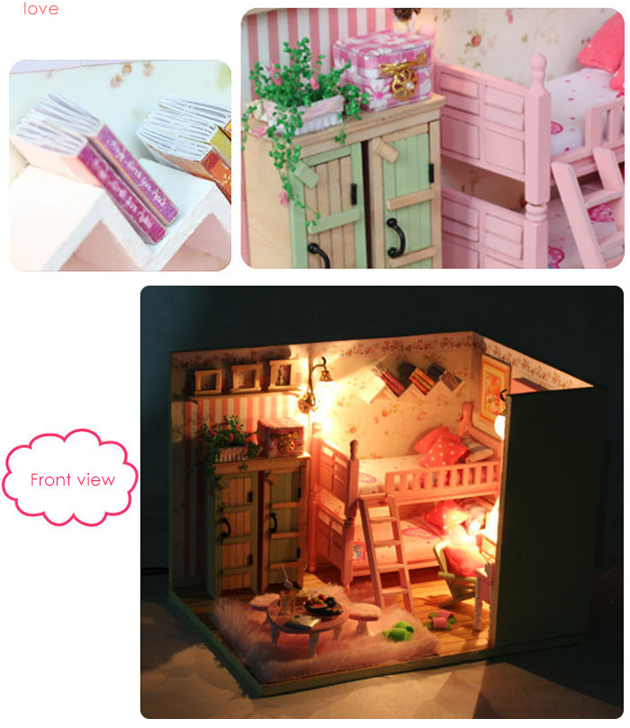 Wooden House Mini Kit with LED Light Furniture DIY Handcraft Toy