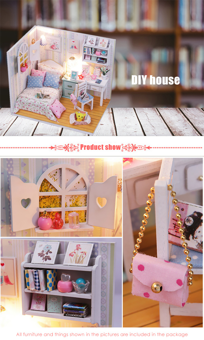 Wooden House Theme Miniature Kit with LED Light Furniture DIY Handcraft Toy
