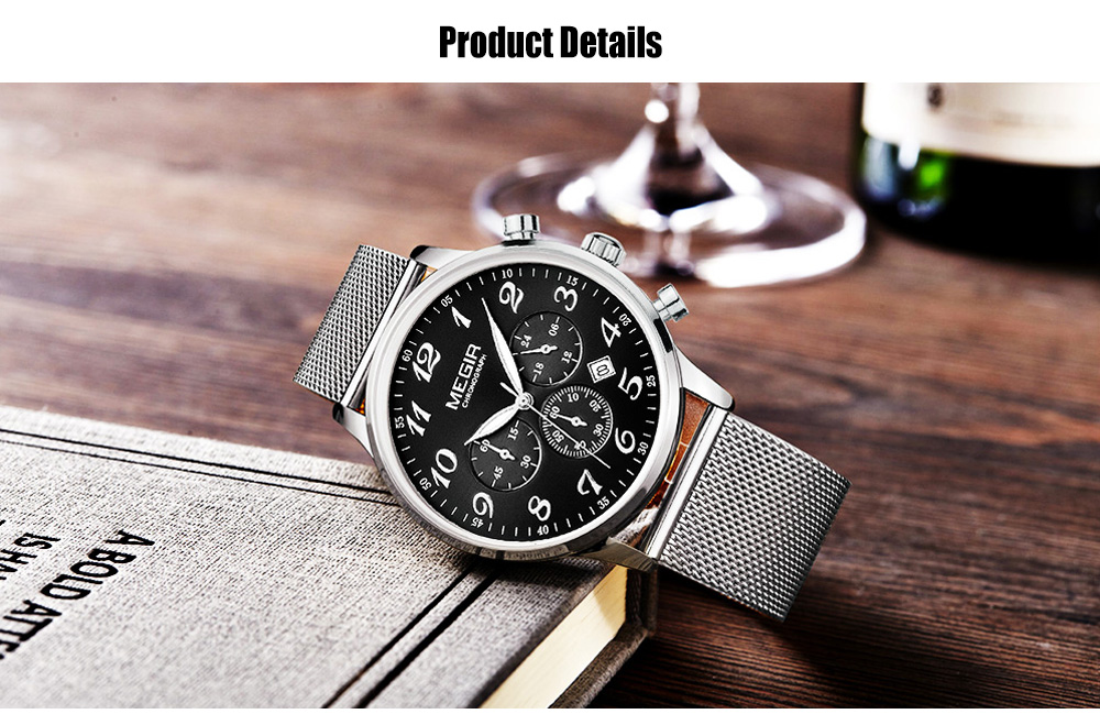 MEGIR 2022 Casual Working Sub-dial Male Quartz Watch with Stainless Steel Net Strap