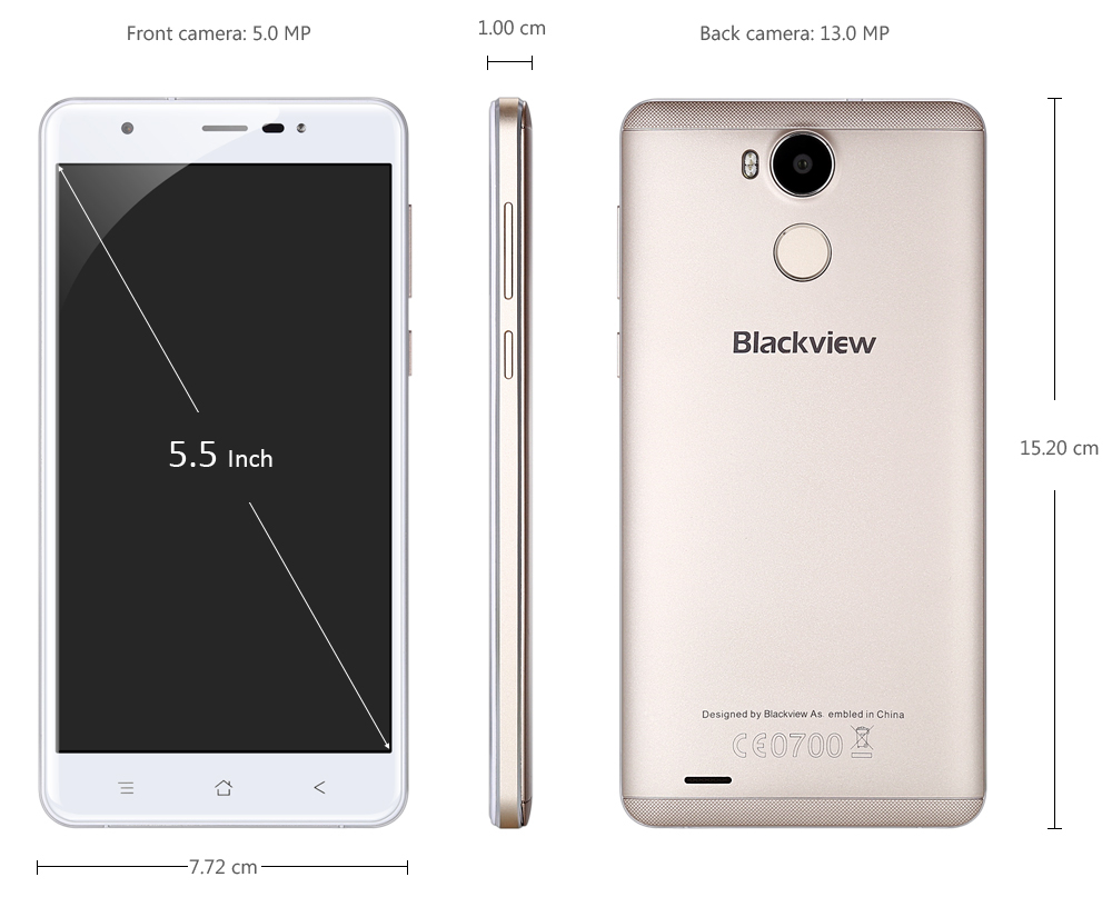 Blackview R6 5.5 inch 4G Phablet Android 6.0 MTK6737T Quad Core 1.5GHz 3GB RAM 32GB ROM 5MP + 13MP Cameras Bluetooth 4.0