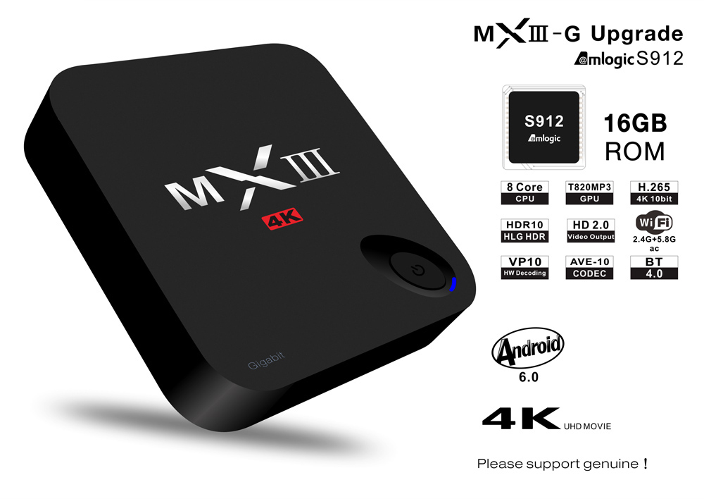 MXIII-G TV Box Amlogic S912 Octa Core Android 6.0 KODI 16.1 BT 4.0 2.4G + 5.8G Dual-band WiFi