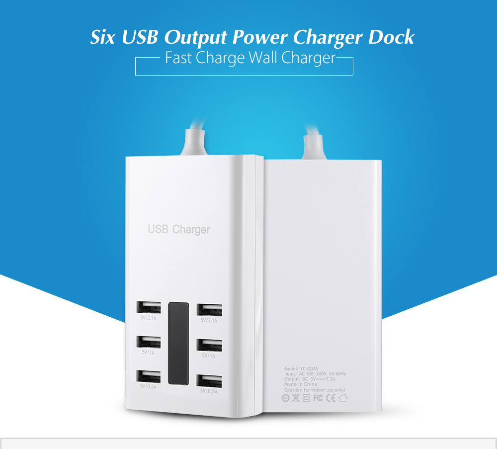 ASLING YC - CDA5 USB Power Adapter Wall Charger Dock Station Six Output Ports Fast Charging