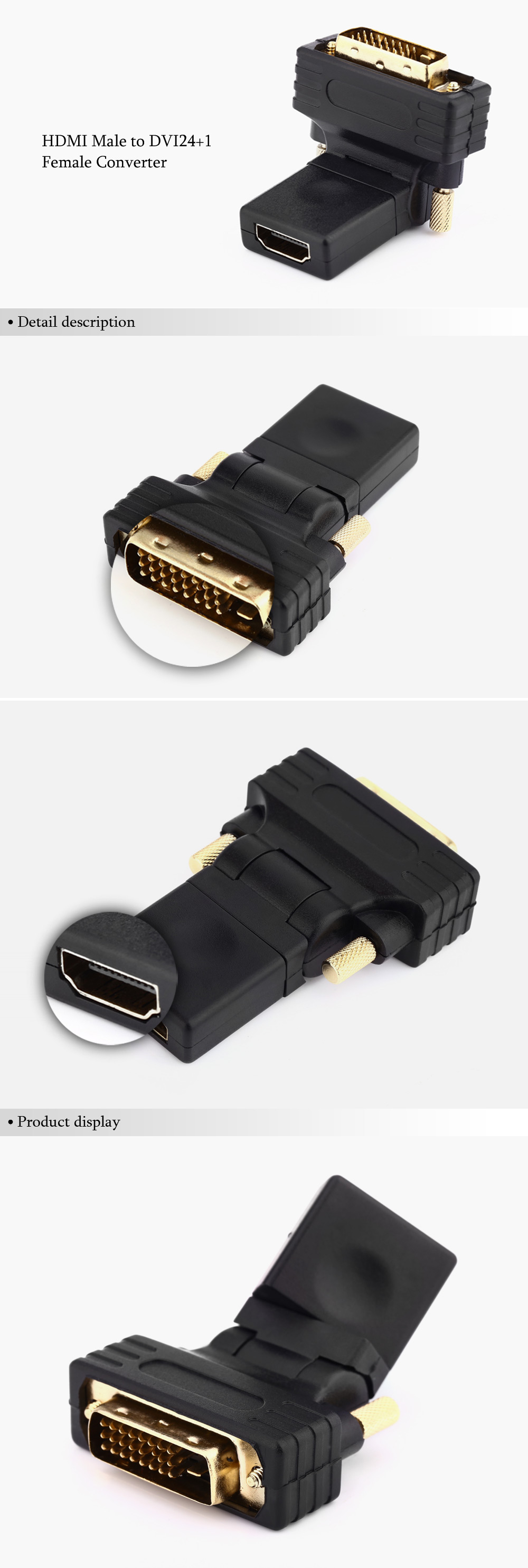 360 Degree Rotation HDMI Male to DVI24+1 Female Converter for PC / DVD Player