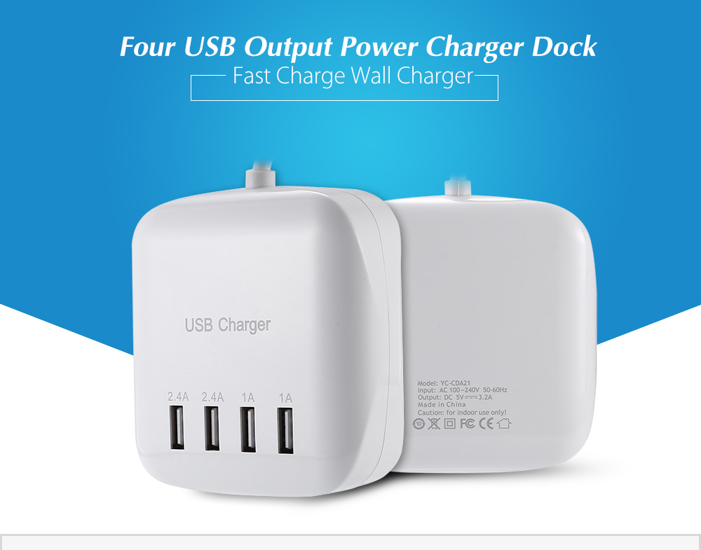 ASLING YC - CDA21 USB Power Adapter Wall Charger Dock Station Four Output Ports Fast Charging