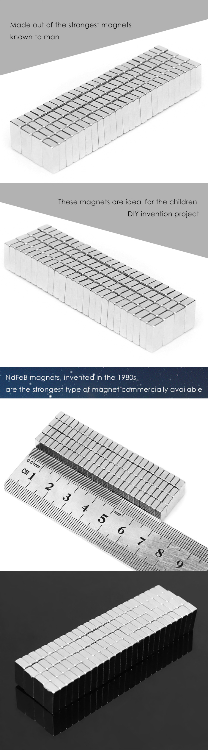 100pcs 8 x 3 x 2mm Magic Magnet DIY Super Strong Magnetic Toy