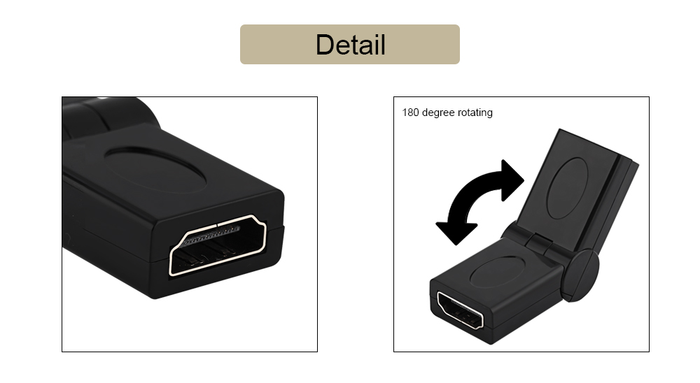 180 Degree Rotation HDMI Female to HDMI Female Converter for PC / DVD Player