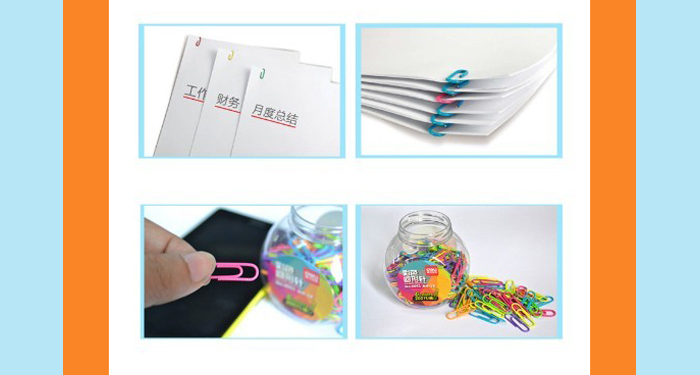 Deli 0053 Metal Paper Clip Colorful Book Paperclip 200PCS / Box
