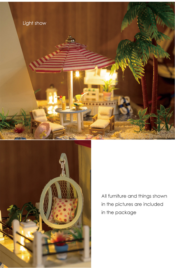 Wooden House Miniature Kit with Furniture DIY Handcraft Toy