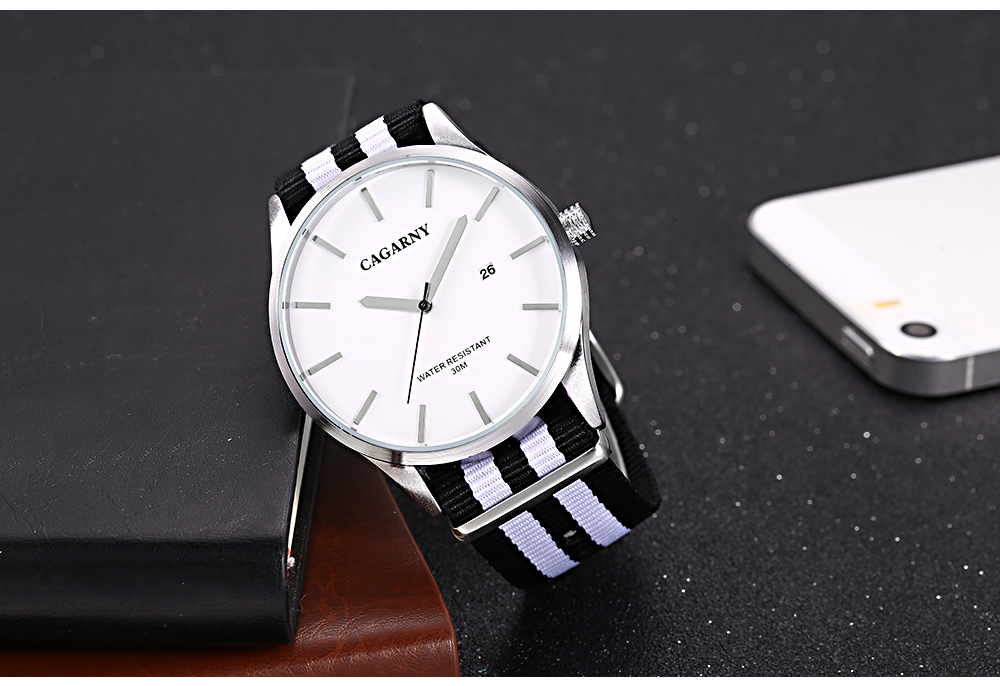 CAGARNY 6865 Unisex Quartz Watch Nylon Stripe Band Calendar Wristwatch