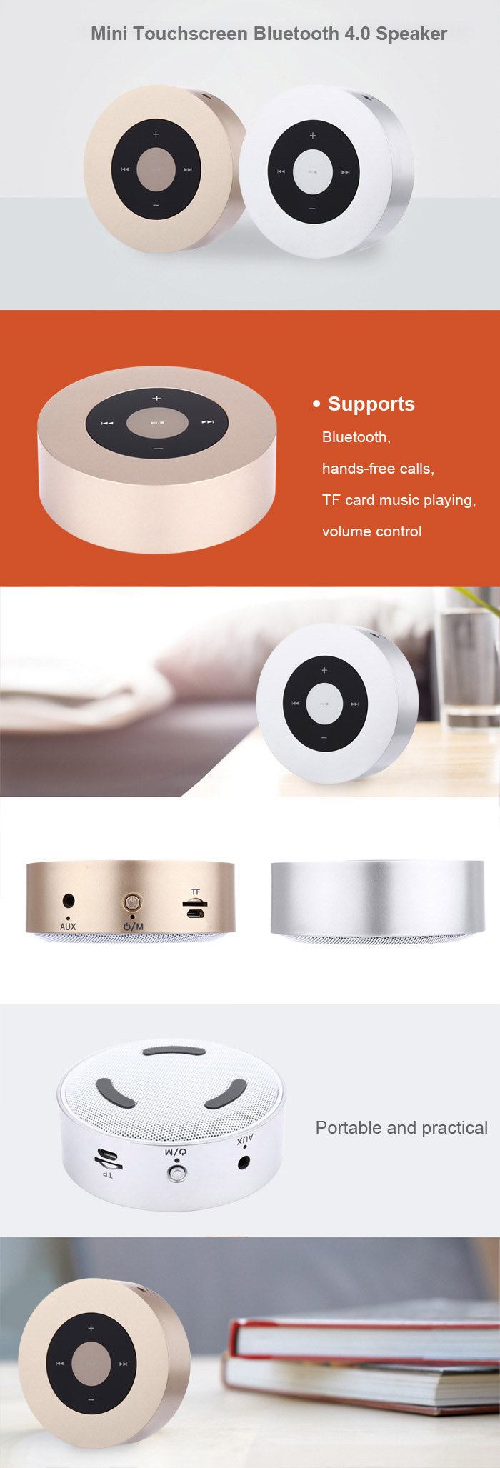 Bluetooth 4.0 Touchscreen Speaker Wireless Music Player Supporting TF Card Playing Hands-free Phone Call