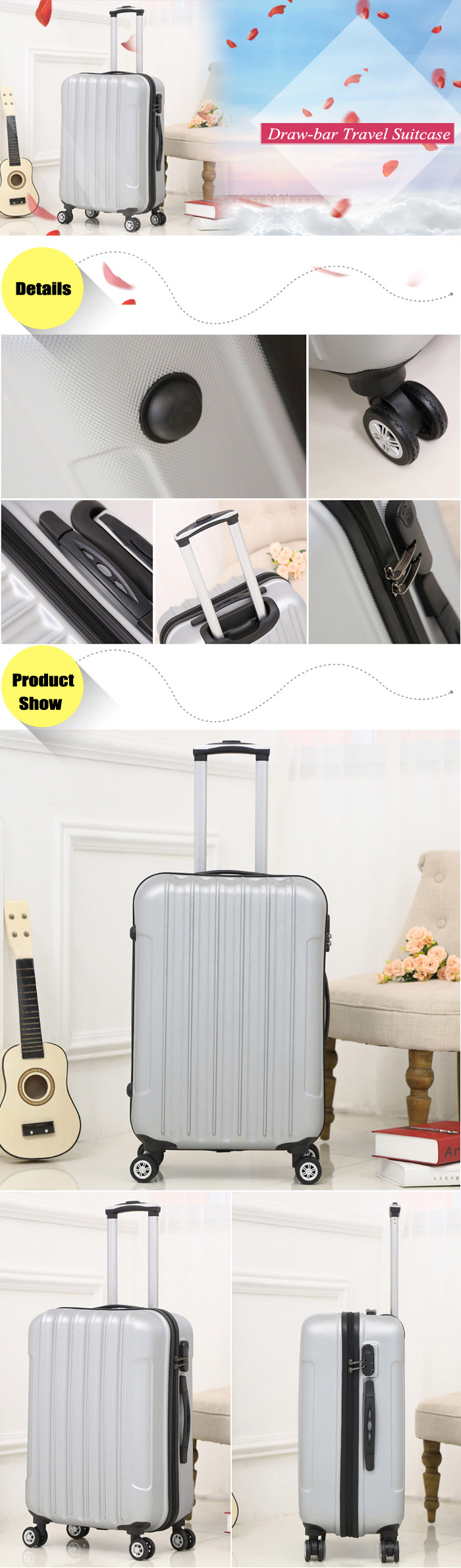 Aluminum Alloy Draw-bar 360 Degree Spinner Wheel Luggage Travel Suitcase with Code Lock