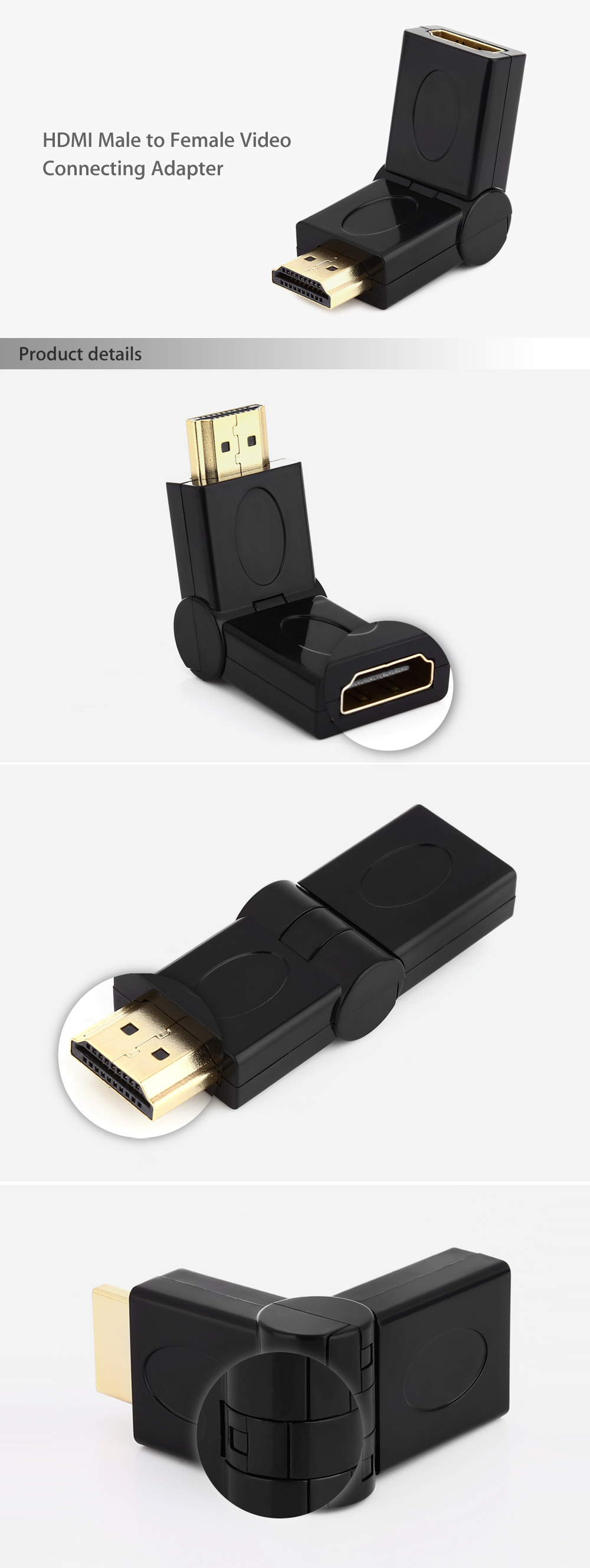 Gold-plated HDMI Male to Female Video Connecting Adapter