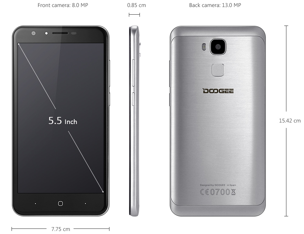 Doogee Y6 Android 6.0 5.5 inch 2.5D Screen 4G Phablet MTK6750 Octa Core 1.5GHz 2GB RAM 16GB ROM 13MP + 8MP Geomagnetic Sensor
