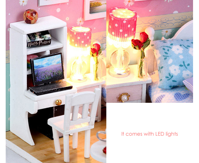 Wooden House Kit with LED Light Furniture DIY Handcraft Toy