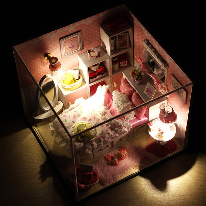 Wooden House Miniature Kit with LED Light Furniture DIY Handcraft Gift