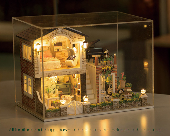 DIY Wooden House Mini Kit with LED Light Furniture Handcraft Toy