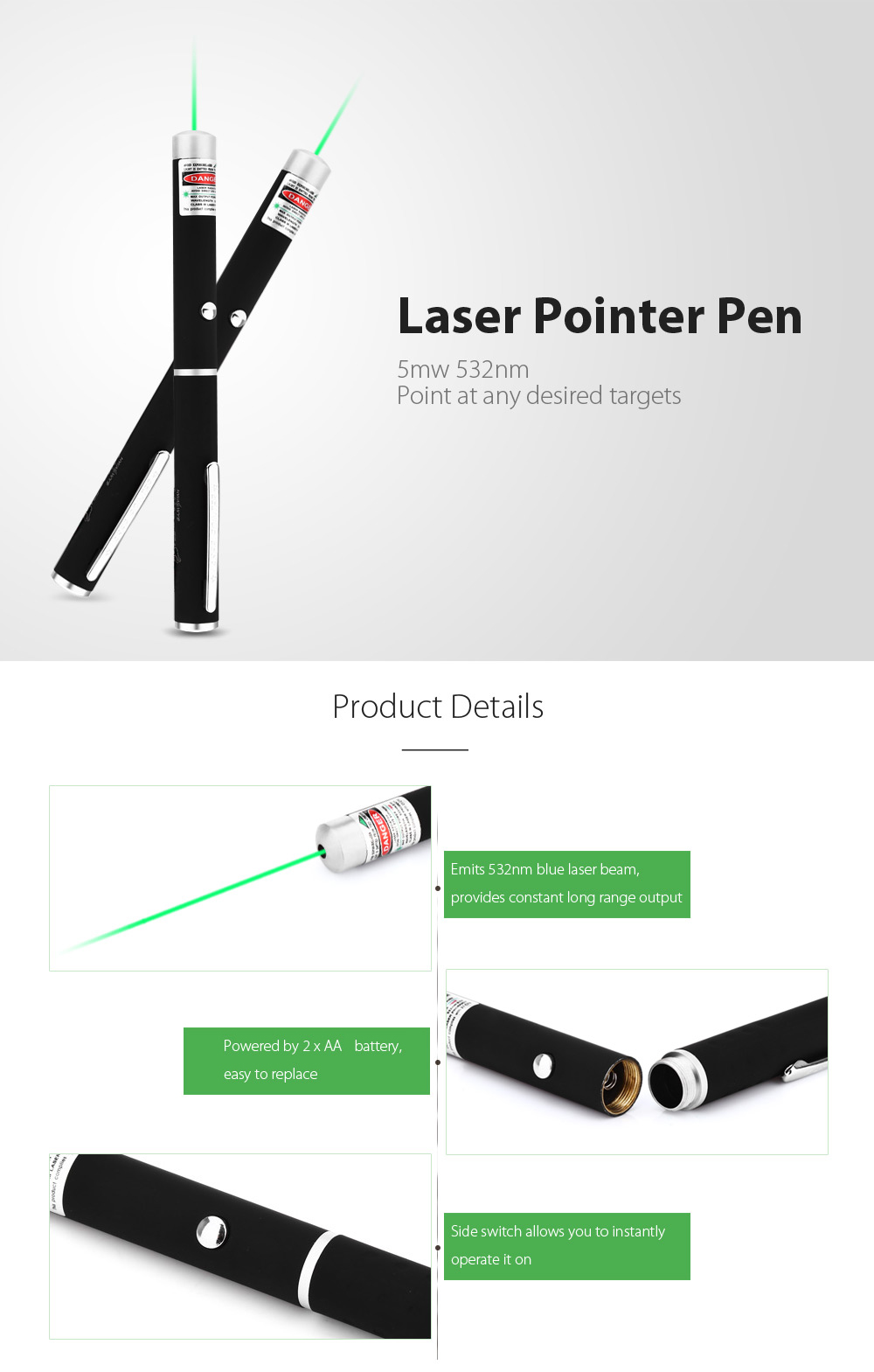 UltraFire 5mw 532nm AAA Compact Laser Pointer