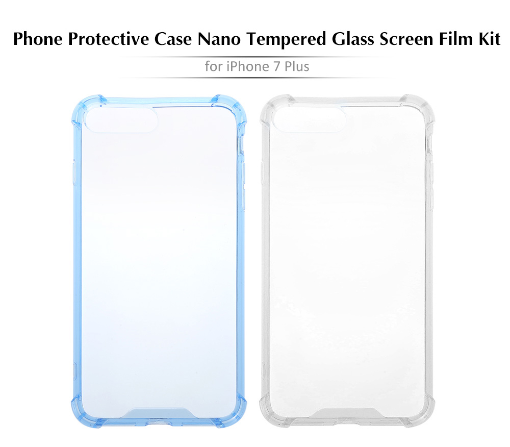 WXD Transparent Silicone Soft Frame Protective Case Nano Tempered Glass Screen Film for iPhone 7 Plus