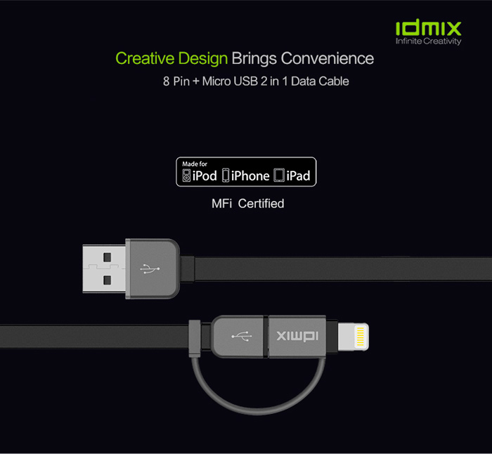 IDMIX DL01P MFi Certification 2-in-1 Micro USB 8 Pin Data Transfer Charging Cable - 1m